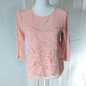 Lacey Blouse Top Coral Pink Scalloped Edge Small